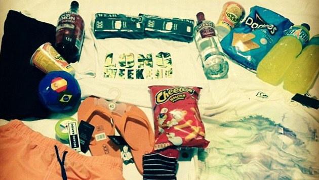 """""""Das Notwendigste fürs Wochenende"""", schrieb Matt Weyman auf Instagram unter dieses Foto aus Spanien. (Bild: instagram.com/pienaar20)"""