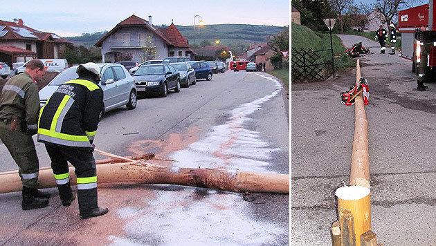 Autofahrer kracht gegen umgeschnittenen Maibaum (Bild: APA/FF NIEDERRUSSBACH)