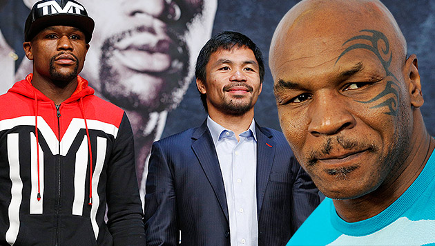 Tyson beschimpft Mayweather vor Jahrhundertkampf (Bild: AP, AP/Chris Pizzello, krone.at-Grafik)
