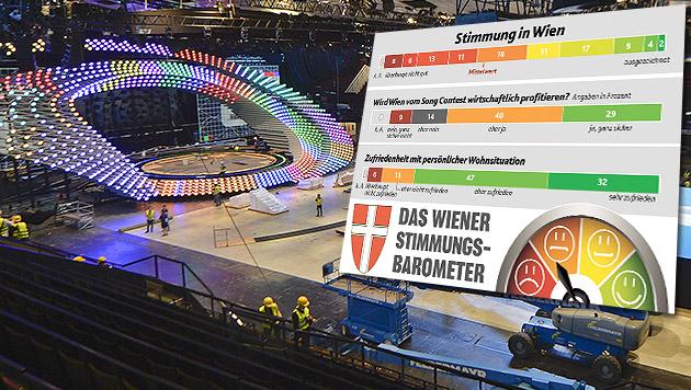 Applaus für den Eurovision Song Contest (Bild: APA/HERBERT NEUBAUER, Krone Grafik)