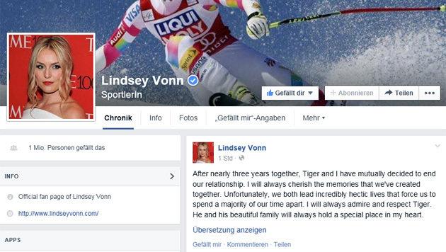 Lindsey Vonn gibt Trennung von Tiger Woods bekannt (Bild: Facebook.com)