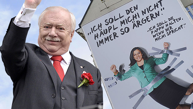 "Häupl hat über Vassilakous Plakat ""sehr gelacht"" (Bild: APA/HANS PUNZ, APA/HANS KLAUS TECHT, krone.at-Grafik)"
