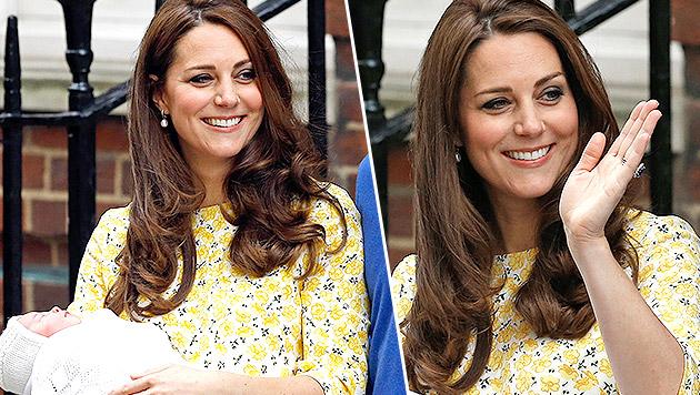 Kate nur zehn Stunden nach Geburt strahlend schön (Bild: AP)
