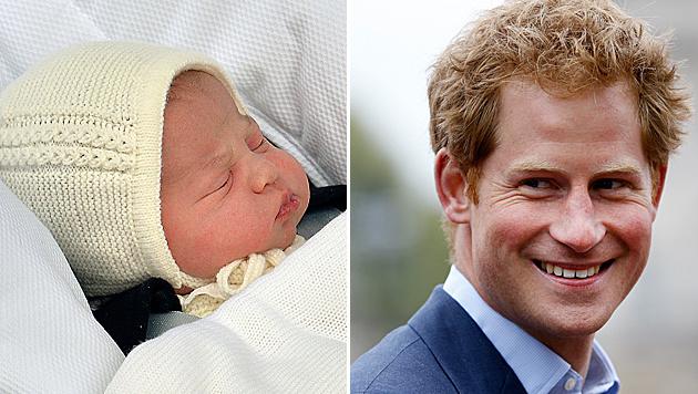 Prinz Harry schwärmt von seiner kleinen Nichte. (Bild: AP)