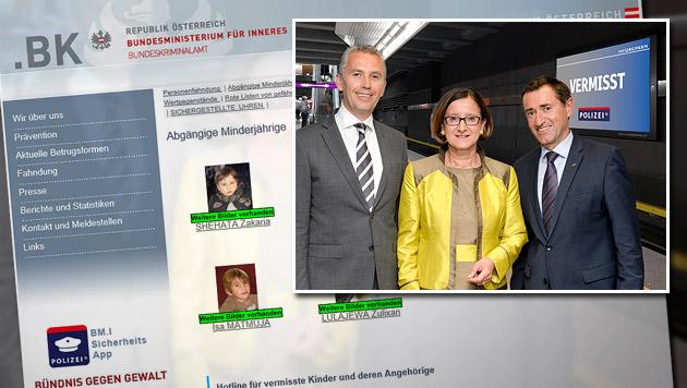 Kleines Bild: Infoscreen-Geschäftsführer Solta, Innenministerin Mikl-Leitner und BK-Chef Lang (Bild: BK, bmi.gv.at)