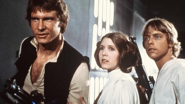 Harrison Ford, Carrie Fishe und Mark Hamill als Han Solo, Prinzessin Leia und Luke Skywalker (Bild: AP)