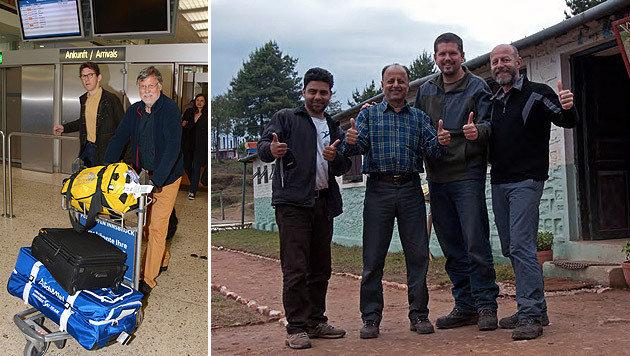 Wolfgang Nairz (li.) bei seiner Ankunft am Flughafen, Klaus Katzensteiner (re.) mit seinen Kollegen (Bild: Andreas Fischer, Klaus Katzensteiner)