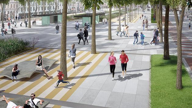 Ein Entwurf der Agentur Barcelona Regional zur Neugestaltung der Wiener Ringstraße (Bild: APA/Barcelona Regional)