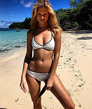 Austro-Model-Export Nadine Leopold macht im Bikini auch eine gute Figur. (Bild: Viennareport)