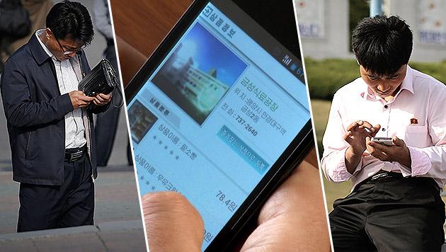 So sieht der Smartphone-Alltag in Nordkorea aus (Bild: AP)