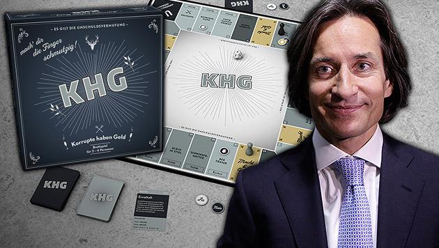 """Absahnen mit """"KHG"""", dem Korruptionsbrettspiel (Bild: Klaus Hofegger, APA/GEORG HOCHMUTH, krone.at-Grafik)"""
