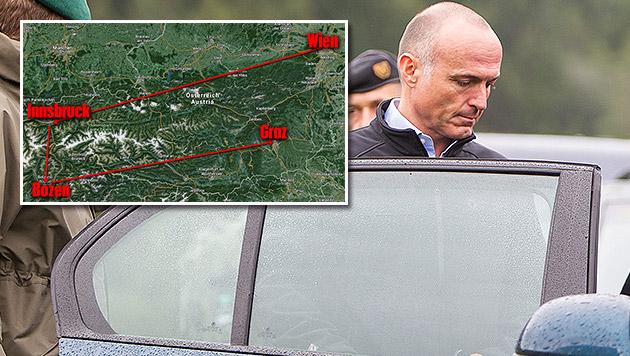 Besuchte mit Dienst-BMW und dem Kraftfahrer des Bundesheeres auch privat Italien: Gerald Klug (Bild: JFK/EXPA/picturedesk.com, maps.google.at, krone.at-Grafik)