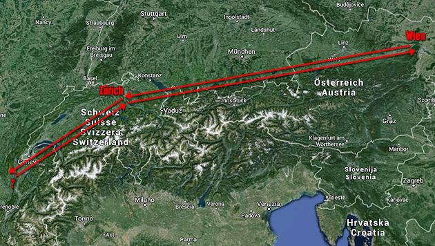 Bei der ersten privaten Reise Klugs im Dienst-BMW ging's von Zürich aus ins grenznahe Frankreich. (Bild: maps.google.at, krone.at-Grafik)