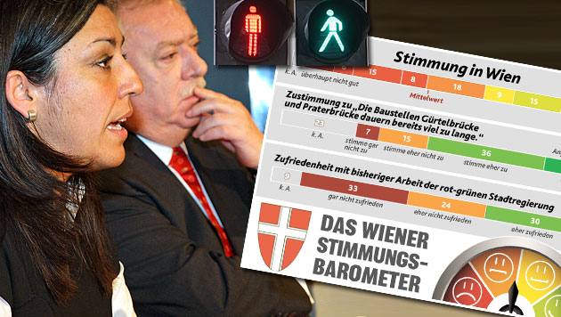 """34 Prozent der Wiener sind mit Rot-Grün zufrieden (Bild: APA/REINHARD HOLL, Jürgen Radspieler, """"Krone"""")"""