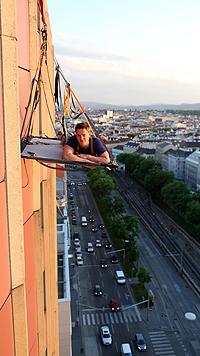 Großstadt-Biwak: Wie schläft es sich in 50 m Höhe? (Bild: Gerhard Bartel)