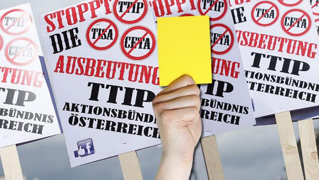 """Jeder 2. Österreicher sagt zu TTIP: """"So nicht!"""" (Bild: APA/GEORG HOCHMUTH)"""