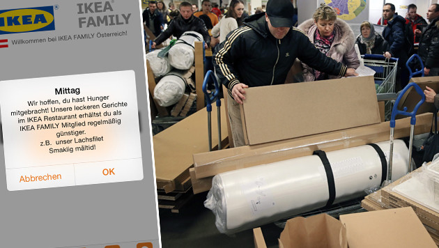 Ikea Graz testet drahtlose Kundenwerbung (Bild: Ikea, APA/EPA/Yuri Kochetkov, krone.at-Grafik)
