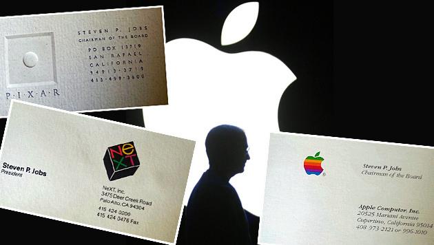 Visitenkarten von Steve Jobs versteigert (Bild: themarinschool.org, EPA, krone.at-Grafik)