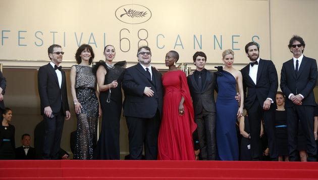 E. Coen, Marceau, de Palma, del Toro, Traore, Dolan, Miller, Gyllenhaal, J. Coen (Bild: APA/EPA/SEBASTIEN NOGIER)