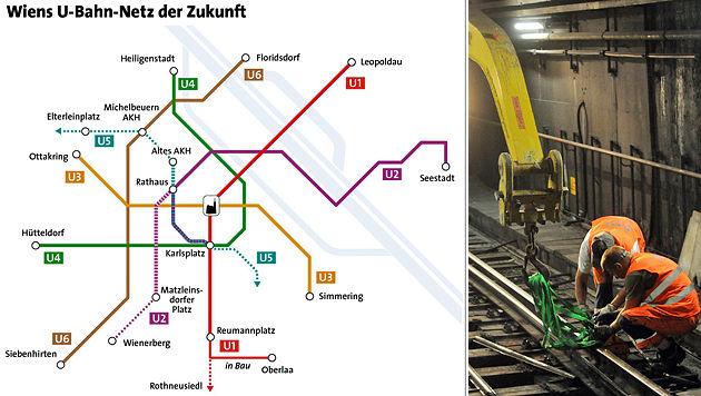 Der Ausbau der U2 und U5 wurde fixiert. (Bild: Wiener Linien/APA Auftragsgrafik, APA/HERBERT PFARRHOFER)