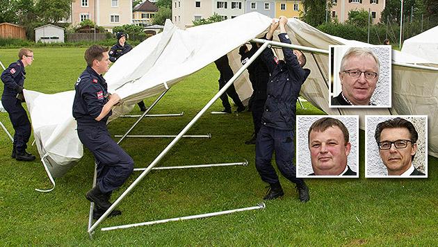 Sind gegen das Zeltlager: die Bürgermeister Pachler (oben), Aigner (links) und Bradler (rechts) (Bild: APA/MANFRED FESL, APA/FRANZ NEUMAYR)