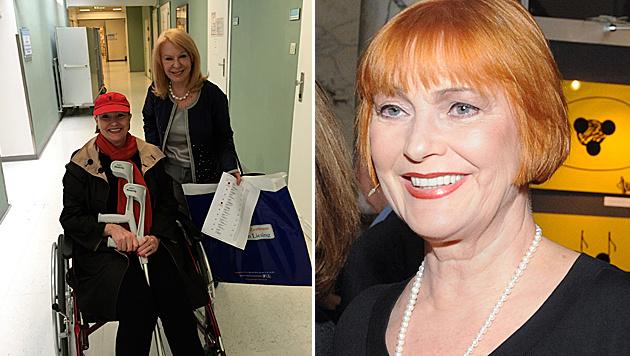 Astrologin Gerda Rogers holte Chris Lohner mit Rollstuhl und Krücken aus dem Krankenhaus ab. (Bild: www.chrislohner.com, APA/HERBERT PFARRHOFER)