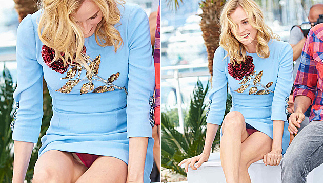 Ups! Diane Kruger zeigt in Cannes ihr Höschen. (Bild: Starpix/Alexander Tuma)