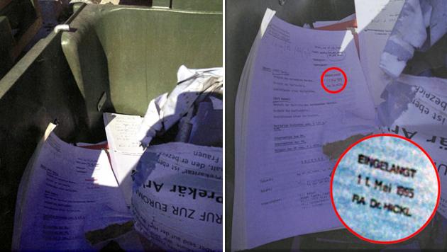 """Die Strafakten landeten unzensiert im Altpapier-Container in Wien. (Bild: """"Krone"""")"""