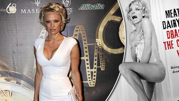 """Pamela Anderson zeigte sich für PeTA in einer """"Psycho""""-Szene nackt unter der Dusche. (Bild: peta.org, APA/EPA/CLAUDIO ONORATI)"""