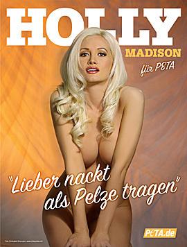 "Ex-""Playboy""-Bunny Holly Madison zog sich auch im Kampf gegen Pelze aus. (Bild: peta.org)"