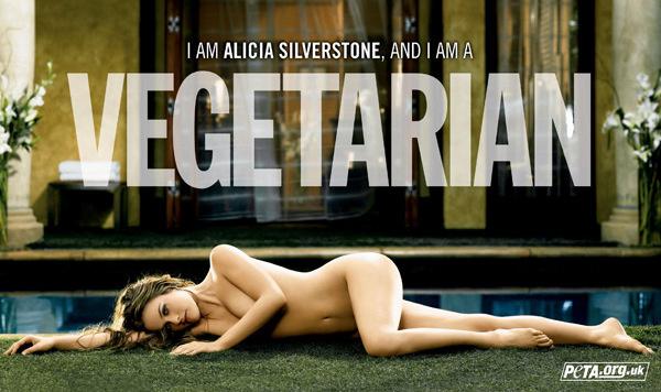 Alicia Silverstone machte ebenfalls nackt für ein fleischloses Leben Werbung. (Bild: peta.org)