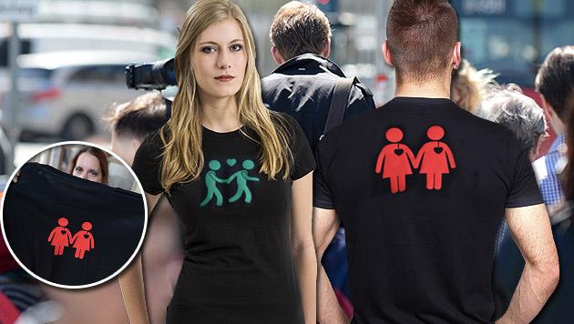 Wiener Ampelpärchen gibt es nun auch auf Shirts (Bild: APA/ROLAND SCHLAGER, thinkstockphotos.de)