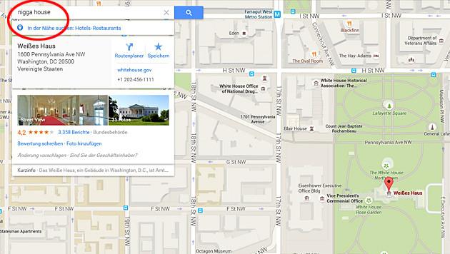 """Weißes Haus als """"Nigga House"""" bezeichnet (Bild: Google Maps)"""