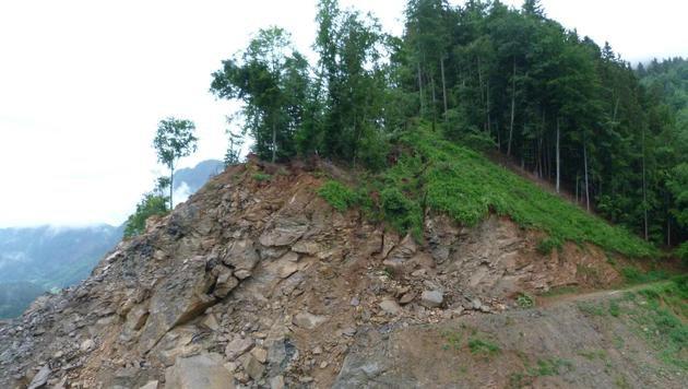Dass der Bergkamm abrutschen wird, gilt als sicher. (Bild: LPD Kärnten)
