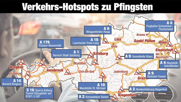 """Staus und zäher Verkehr am Pfingstwochenende (Bild: """"Krone""""-Grafik)"""