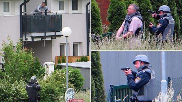 Beamte lockten den Tobenden auf den Balkon der Wohnung. (Bild: Katharina Pawkowicz-Herbert)