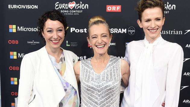 Ursula Strauss, ORF-TV-Direktorin Kathrin Zechner und Adina Vetter (Bild: APA/HELMUT FOHRINGER)