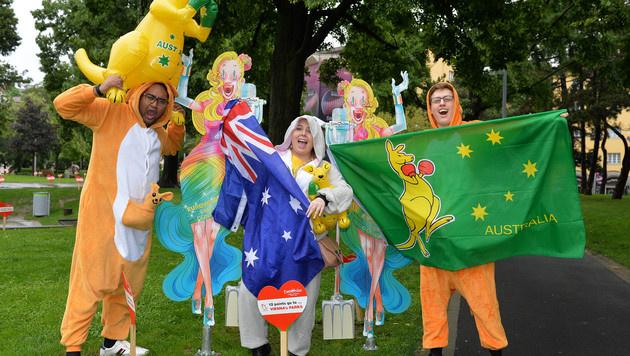 Die australischen Fans sind schon im Song-Contest-Fieber. (Bild: AP)