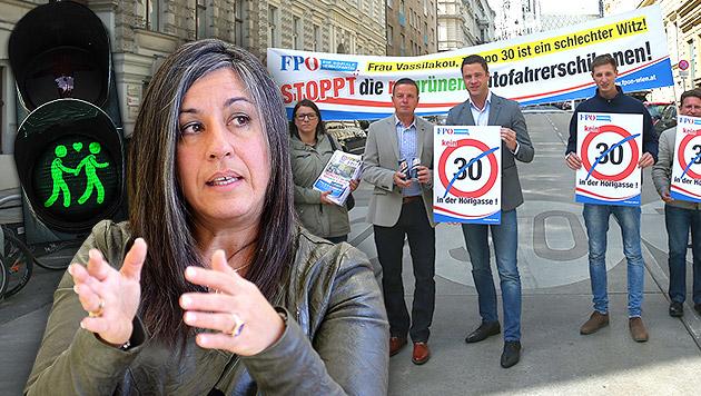FPÖ-Klubobmann Gudenus und Verkehrssprecher Mahdalik: Gegen Vassilakou, 30er-Zone und Ampelpaare (Bild: Peter Tomschi, APA/ROLAND SCHLAGER, thinkstockphotos.de)