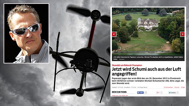 Schumacher: Jetzt wird er mit Drohnen angegriffen (Bild: AP/dpa/Screenshot blick.ch)