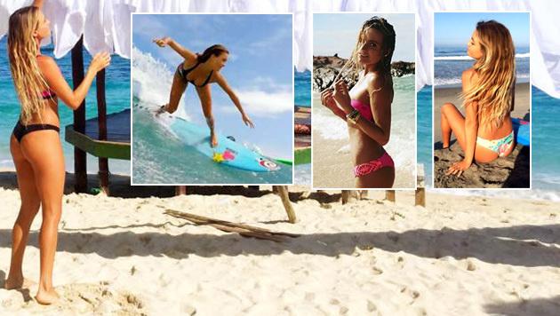 Sexy Profi-Surferin verlost Training und Traumdate (Bild: facebook.com)