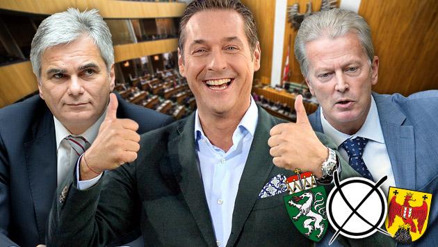 Von links im Bild: Werner Faymann (SPÖ), Heinz-Christian Strache (FPÖ), Reinhold Mitterlehner (ÖVP) (Bild: APA, krone.at-Grafik)