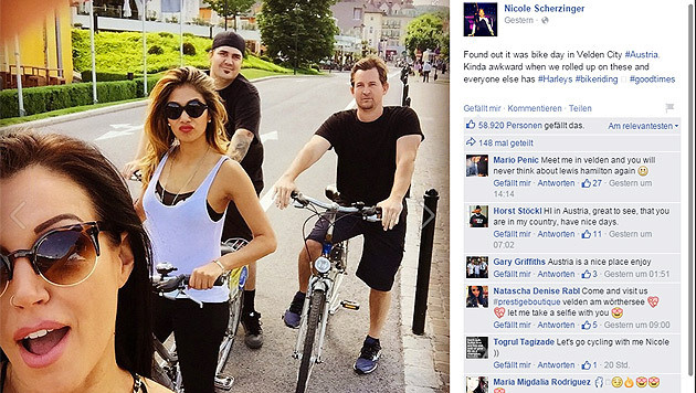 Nach dem Reitturnier in Treffen ging's zum Radeln in Velden: Nicole Scherzinger mit Begleitung (Bild: facebook.com/Nicole Scherzinger)