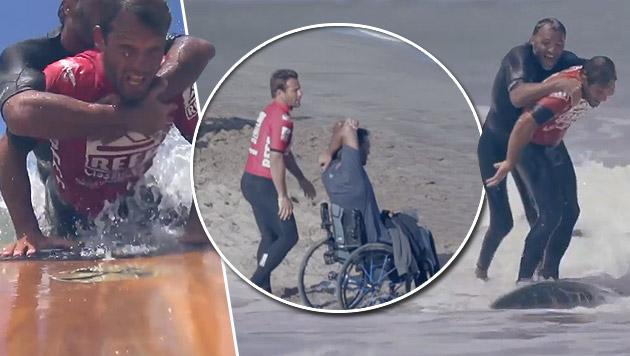 Profi-Surfer verzichtet für Gelähmten auf Sieg (Bild: YouTube.com)