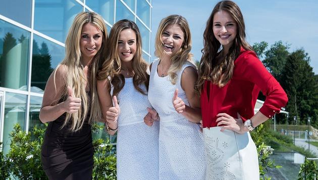 "Yvonne Rueff, SOS-Sieger Team Kärnten (Vize Juia Zwipp, ""Miss"" Franziska Sumberaz), Julia Furdea (Bild: Miss Austria Corporation)"