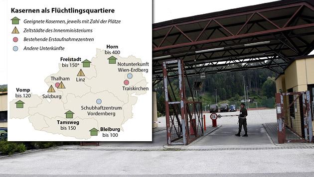 Die Einfahrt zur Kaserne Bleiburg in Kärnten (Bild: APA/GERT EGGENBERGER, APA-Grafik)