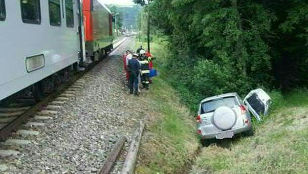 Der Wagen landete im Graben. (Bild: APA/FF ROHRBACH/L.)