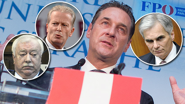 v. l.: Häupl (SPÖ), Mitterlehner (ÖVP), Strache (FPÖ), Faymann (SPÖ) (Bild: APA/GEORG HOCHMUTH, APA/HERBERT PFARRHOFER, APA/ROLAND SCHLAGER)