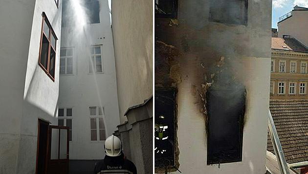 Nach einer Verpuffung brach ein Brand in einer Wohnung in Wien-Neubau aus. (Bild: APA/BERUFSFEUERWEHR WIEN)