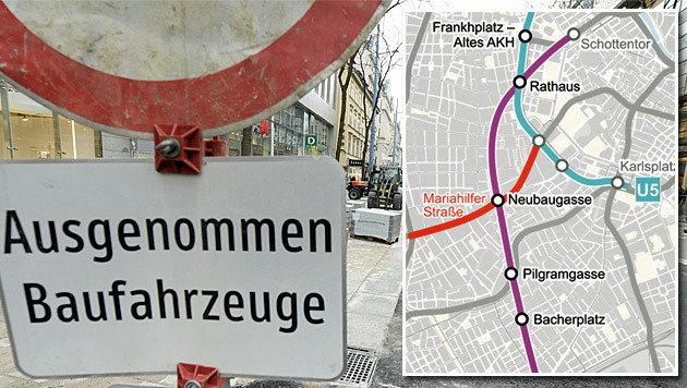 """So soll die Verlängerung der U2 ab der Station Rathaus verlaufen. (Bild: APA/HANS KLAUS TECHT, """"Krone"""")"""